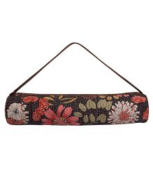 Jaipurse Kantha Work Yoga Mat Bag  - Black