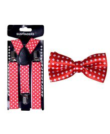 Tiekart Polka Dot Bow Tie & Suspender Combo - Red