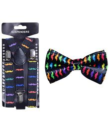 Tiekart Playful Bow Tie & Suspender Combo - Multicolour