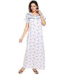 Eazy Half Sleeves Cotton Nursing Nighty Floral Print - White and Blue