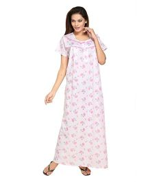 Eazy Half Sleeves Cotton Nursing Nighty Floral Print - White and Pink