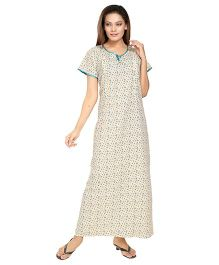 Eazy Half Sleeves Cotton Nursing Nighty Floral Print - White and Green