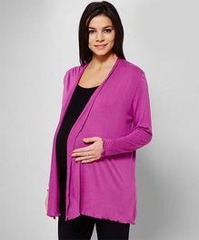 Penny Made For Moms Front Open Full Sleeves Maternity Shrug - Purple