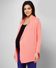 Penny Made For Moms Front Open Full Sleeves Maternity Shrug - Mauve Glow
