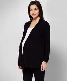 Penny Made For Moms Front Open Full Sleeves Maternity Shrug - Black