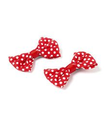 Funkrafts Set Of 2 Minnie Bow Clips - Red