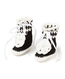 Funkrafts Popcorn Crochet Gumboots - Black & White