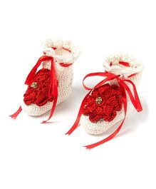 Funkrafts Attractive Fairy Booties - White & Red