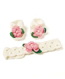 Funkrafts Booties & Headband Set - White & Pink