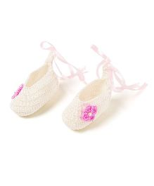 Funkrafts Attractive Crochet Booties - White