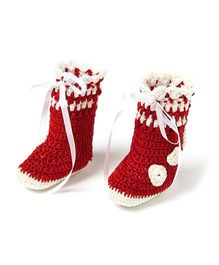 Funkrafts Attractive Crochet Booties - White & Red
