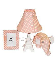 Little Nest Table lamp Set Polka Dot Print - Peach