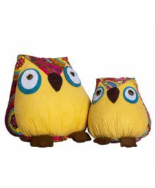 Little Nests Owl Shaped Cushions Yellow - 2 Pieces