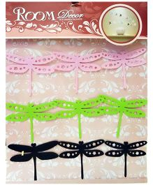 Little Nests 3D Plastic Dragonfly Design Wall Art - Pink Green Black