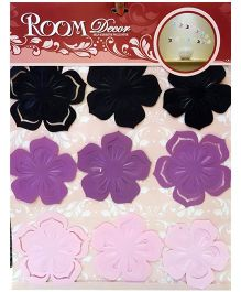 Little Nests 3D Plastic Floral Design Wall Art -  Black Purple Pink