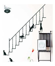 Little Nests DIY Stairway Cats Wall Decals - Black
