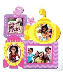 Little Nests DIY Photo Frames Underwater Design Pink And Yellow - 4 Pieces