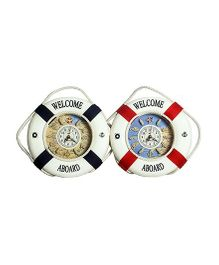 Little Nests Sailor Tubes Clock - Blue And Red