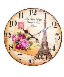 Little Nests Paris Theme Clock - Brown