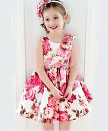 Teddy Guppies Floral Print Party Dress - Pink