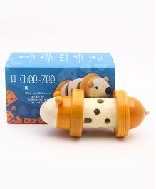 Caravan Evolved Craft Chee Zee Wooden Rolling Rattle Mouse - Yellow & Ivory