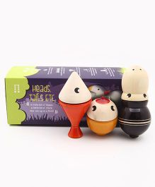 Caravan Evolved Craft Wooden Heads And Tail Set 1 Fish Chicken Hippo