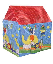 Lovely Play Tent House Elephant Print - Blue Yellow