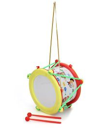 Lovely Musical Drum Play Print - Yellow And Red