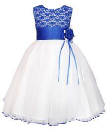 Darlee & Dache Sleeveless Knee Length Net Party Wear Frock - White & Blue