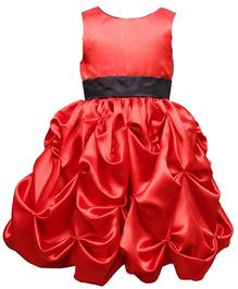 Darlee & Dache Sleeveless Knee Length Satin Party Frock - Red