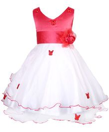 Darlee & Dache Sleeveless Frock With Butterfly Embroidery - White & Red