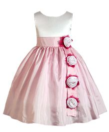 Darlee & Dache Knee Length Party Dress Floral Applique - Pink