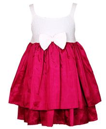 Darlee & Dache Knee Length Party Dress Bow Applique - Dark Pink