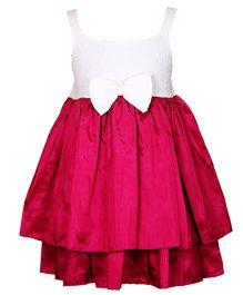 Darlee & Dache Knee Length Party Dress Bow Applique - Dark Pink