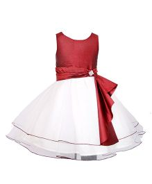 Darlee & Dache Knee Length Party Dress - White And Maroon