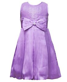 Darlee&Dache Sleeveless Party Wear Dress With Bow Applique - Purple