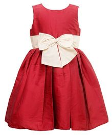 Darlee&Dache Sleeveless Party Wear Dress With Bow Applique - Red