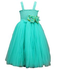 Darlee&Dache Singlet Party Wear Dress With Floral Appliques - Turquoise