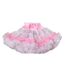 Darlee&Dache Party Wear Skirt With Satin Belt - White And Pink
