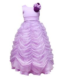 Darlee & Dache Sleeveless Floor Length Party Dress Floral Applique - Purple