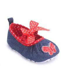 Cute Walk by Babyhug Booties Butterfly Embroidery - Blue Red