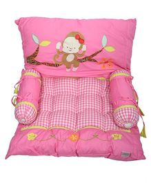Blooming Buds Jungle Friends Monkey Mattress Set - Pink