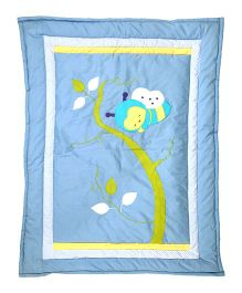 Blooming Buds Honey Bee Baby Quilt - Blue