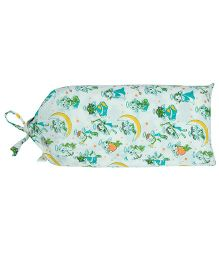 Blooming Buds Angels Print Dohar with Bag - Green