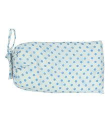 Blooming Buds Polka Dots Print Dohar With Bag - White & Blue