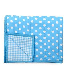 Blooming Buds Dots & Checks Reversible Toddler Dohar - Blue