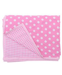 Blooming Buds Dots & Checks Reversible Toddler Dohar - Pink