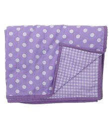 Blooming Buds Dots & Checks Reversible Toddler Dohar - Purple