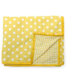 Blooming Buds Dots & Checks Reversible Toddler Dohar - Yellow