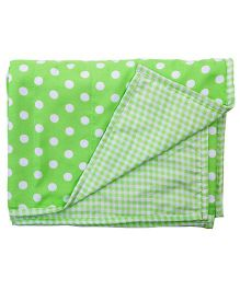 Blooming Buds Dots & Checks Reversible Toddler Dohar - Green